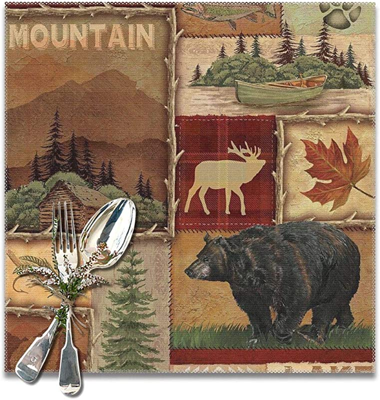 GOODJS Rustic Lodge Bear Moose Deer Placemats For Dining Table Washable Heat Resistant Kitchen Table Mats Set Of 6