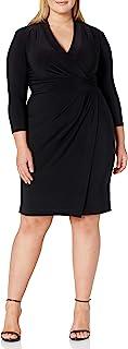 Anne Klein womens PLUS SIZE SOLID ITY V NECK WRAP DRESS Dress