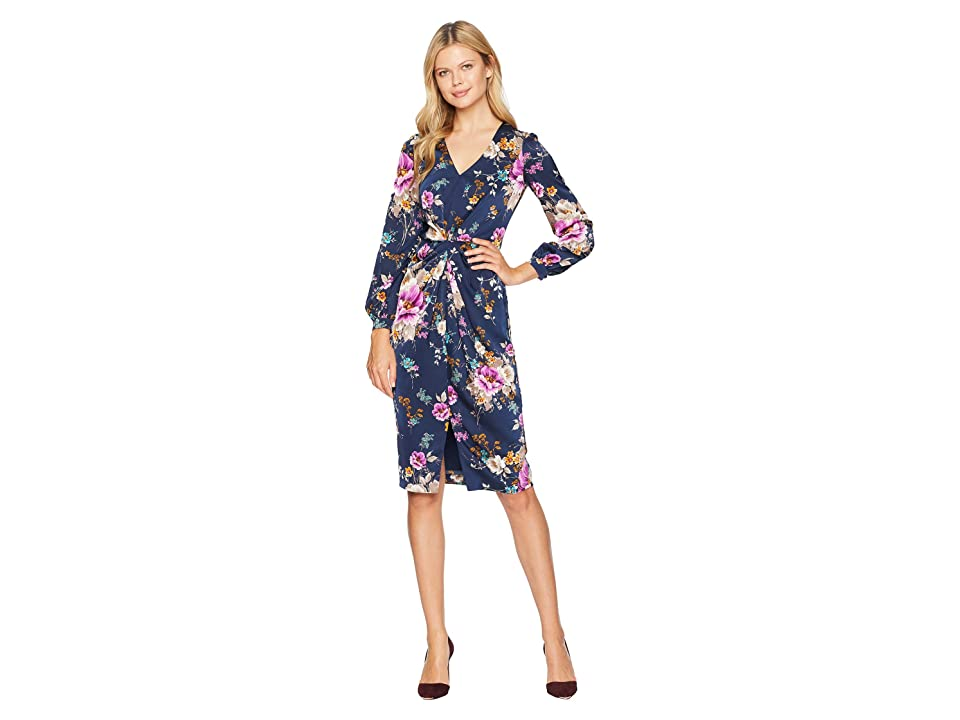 Maggy London Flemish Floral Charmeuse Draped Sheath Dress (Navy/Mulberry) Women