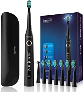 Fairywill Sonic Powered Electric Toothbrush with 5 Modes, Smart Timer, 8 Brush Heads, Fully Rechargeable with One 4 Hour Charge Last 30 Days, And A Travel Case for Adults in Black