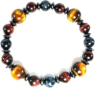 Handmade Multicolor Tigers Eye Crystal Bracelet 10mm 14mm Natural Gemstones Hematite Spacers Strong Elastic Cord (AURAS BY OSIRIS)