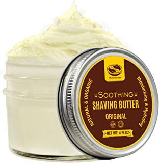 4 fl. Oz Organic Shaving Butter Cream, Made with Moisturizing Shea Butter and Soothing Aloe Juice, Excellent Shaving Butter for Men with Sensitive Skin