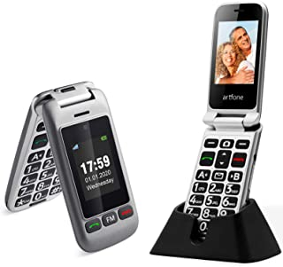 artfone Flip Cell Phone Unlocked for Elderly,AT&T Big Button Senior MobilePhone with Charging Dock and Double Screen(Silve...
