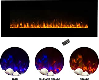 Northwest Electric Fireplace Wall Mounted Color Changing LED Fire and Ice Flames, NO Heat, Multiple Decorative Options and Remote Control, 54