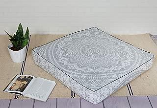 Popular Handicrafts Mandala Square Hippie Floor Pillow (Silver, 35