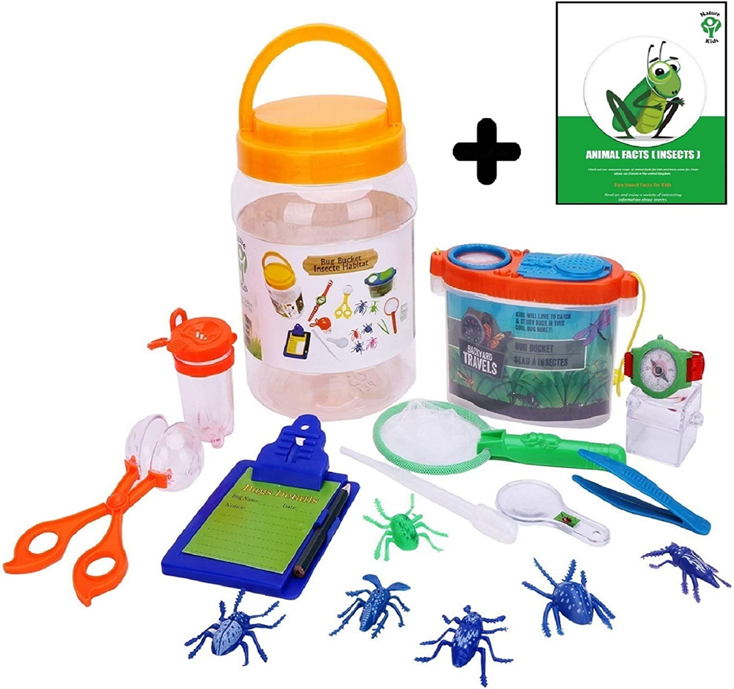 """Kids Bug Explorer Toy Set with Catch Critter Net Tongs Tweezers Magnifier & More a """" Educations Imaginative & Creative Toys for Boys & Girls Camping Scouting Nature & Backyard Fun + Free Ebook."""