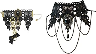 MEiySH Gothic Lolita Retro Steampunk Gear Lace Slave Bracelet Wristband Black Flower Ring