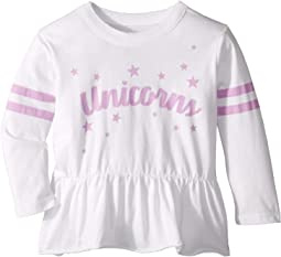 Super Soft Unicorn Print and Stars Peplum Long Sleeve Tee (Toddler/Little Kids)