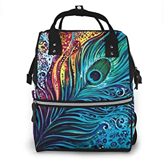 Amazing Peacock.png Diaper Bag Multi-Function Waterproof Travel Mummy Backpack Nappy Bags for Baby Care, Large Capacity, Stylish and Durable