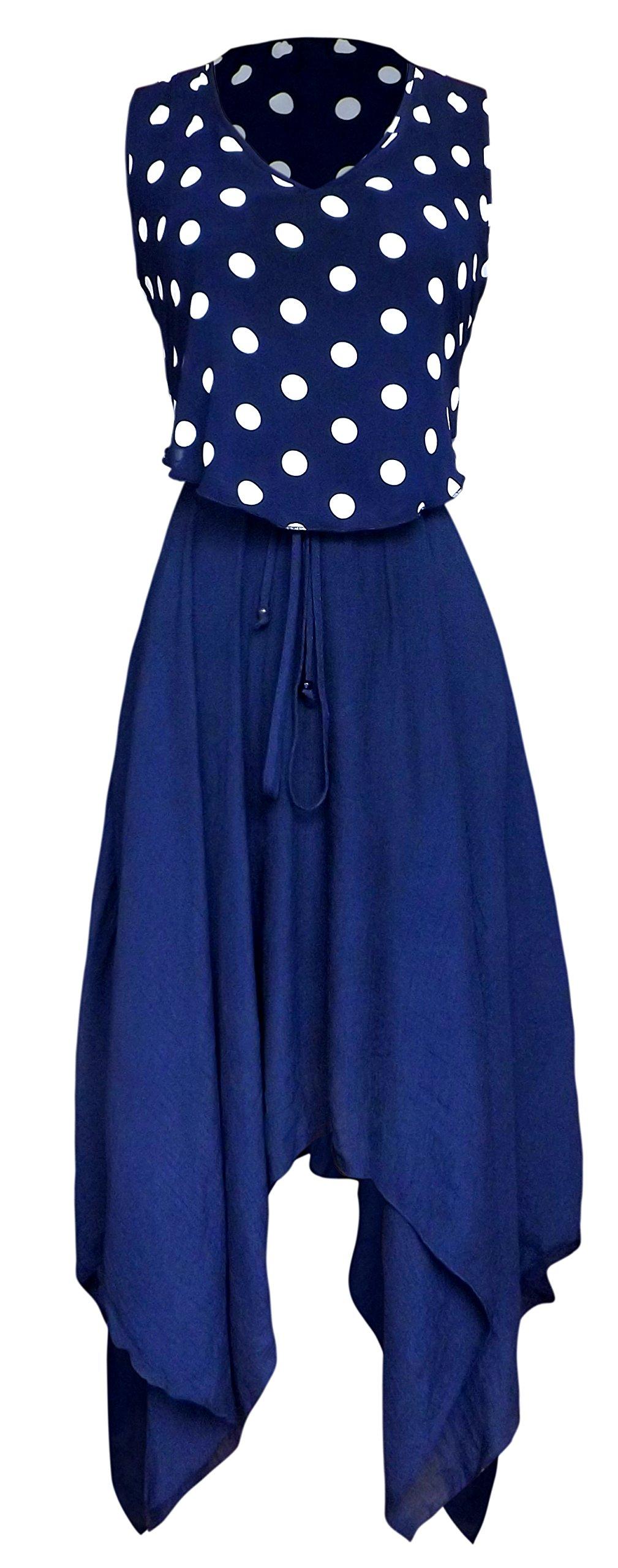 Available at Amazon: Peach Couture Casual Fun Summer Polka Dot Print Asymmetrical Handkerchief Dress