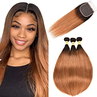 Goldfinch Straight Ombre Bundles with Closure Brazilian Ombre Brown Human Hair Bundles with Lace Closure 1b/30 Black to Medium Auburn Brown Straight Remy Virgin Hair 12 14 16 + 10