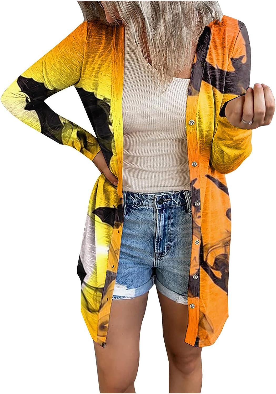 Womens Halloween Cute Pumpkin Bat Ghost Graphic Tops Long Sleeve Open Front Cardigan Blouse Lightweight Coat