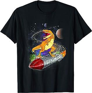 Dinosaur Astronaut Riding Rocket Outer Space T-Shirt