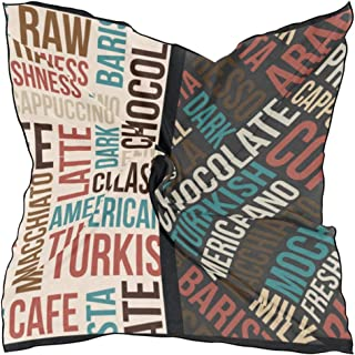 Women's Soft Polyester Silk Square Scarf Letter Fashion Design Retro Modern Digital Mashup Doodle Style Fashion Print Head & Hair Scarf Neckerchief Accessory-23.6x23.6 Inch