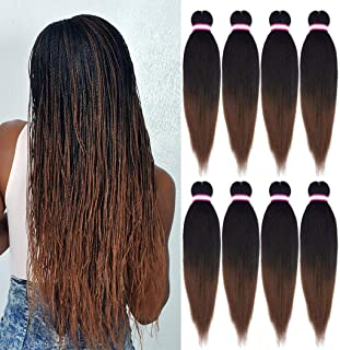 Pre-stretched Braiding Hair Extension Ombre Natural Black Brown Professional Crochet..