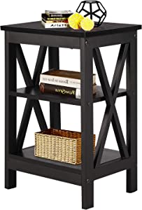 VECELO Modern Night Stand/Sofa Side/End Storage Shelf X-Design Versatile Nightstands Lamp Table Living Room Bedroom Furniture,Easy Assembly, Antique Black