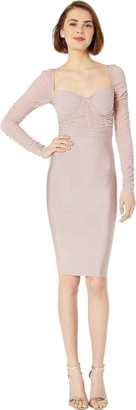 766fe830b7 Mesh Contrast Bandage Dress. Bebe