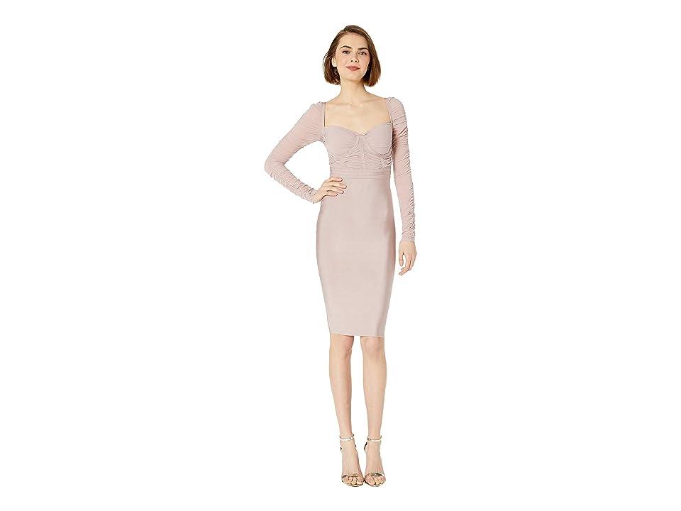 Bebe Mesh Contrast Bandage Dress (Sepia Rose) Women