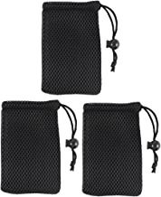 Black Cell Phone Nylon Mesh Drawstring Pouch Bags 3 Pcs