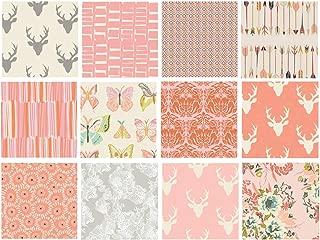 Girl's Woodland Nursery Quilt Fabrics | Hello Bear Fabric Bundle | Deer Head Fabric | Pink and Gray Quilt Bundle with Butterflies | Art Gallery Fabrics (Fat Quarters)