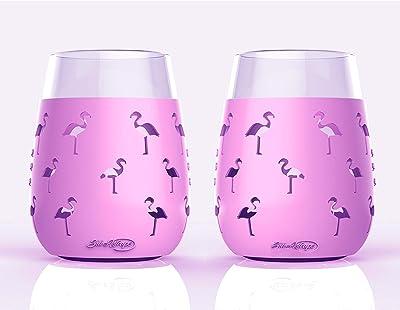Flamingo Wine Glasses - Set of 2 - 19oz - Sili-Wraps