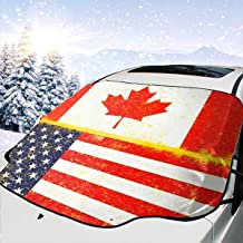 BIAN-HOODIE USA and Canada Flag Vintage Tie Dye Car Windshield Snow Cover for Car Front Windscreen Ice Cover Protector Waterproof Car Windshield Sun Shade Half Car Cover Fit Most Car, SUV, Truck, Van