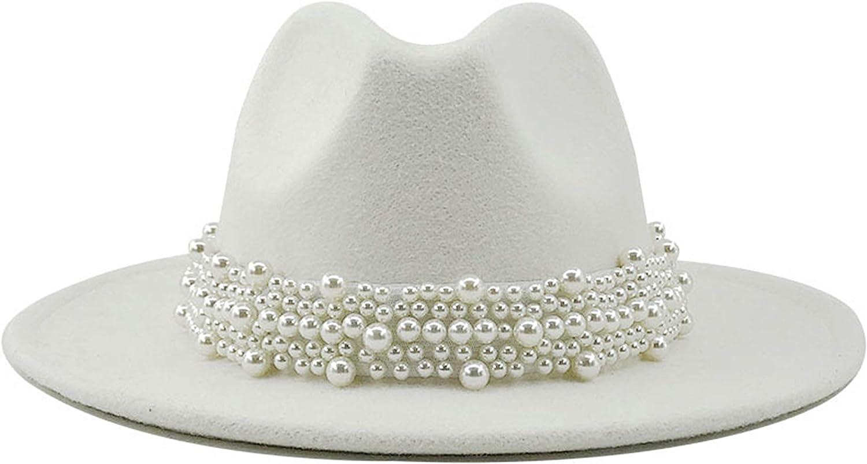 EOZY Women's Vintage Pearl Band Fedora Hat Trendy Wide Brim Trilby Panama Hat