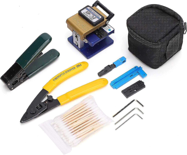 FTTH Empalme Empalme Conexión en frío Kit de herramientas de extracción de fibra óptica con cuchilla de fibra FC-6S y separador de fibra óptica CFS-3