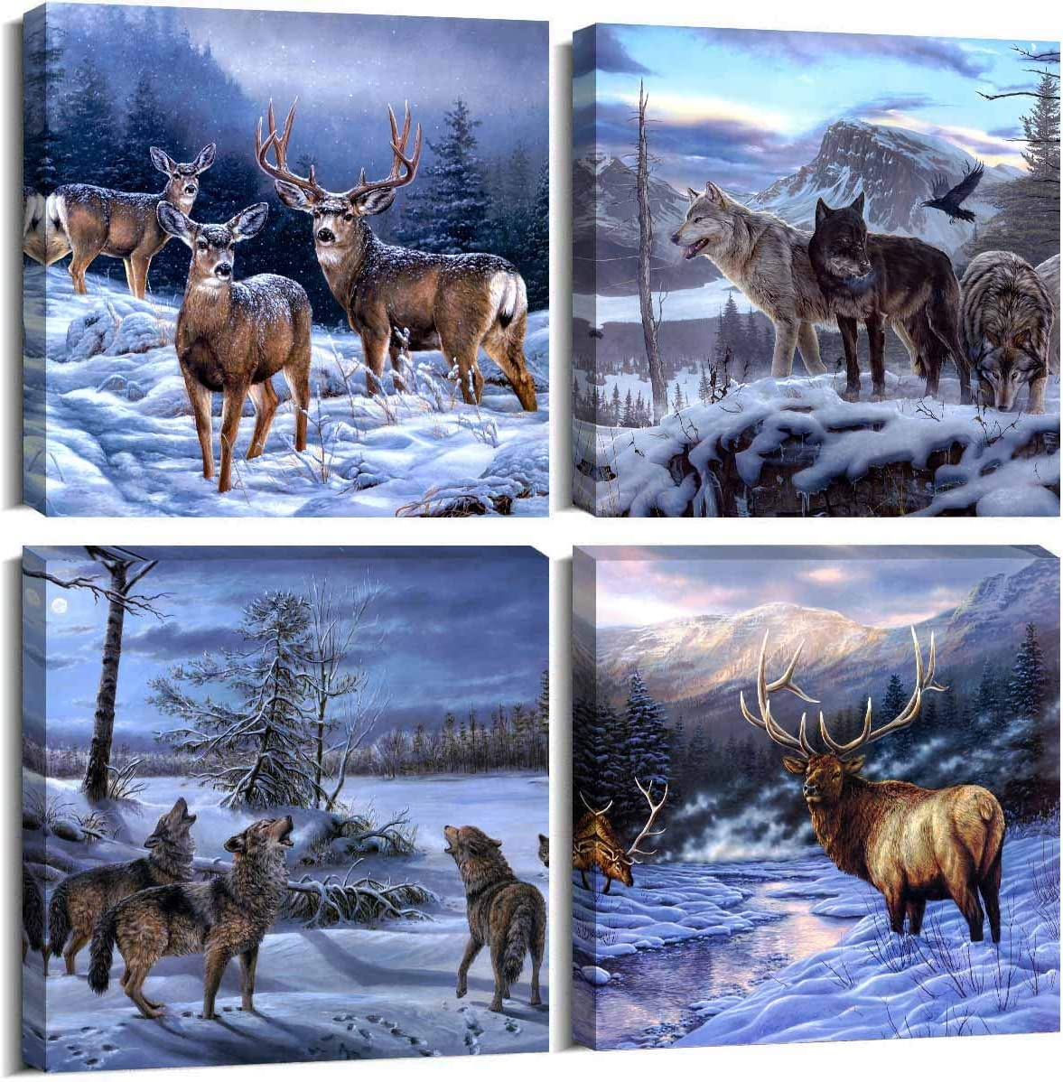 ArtHome520 Blue Animal Super beauty product restock quality top! Deer Pictures Home Decor OFFer Winter Canv Wolf