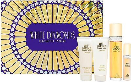 White Diamonds by Elizabeth Taylor for Women - 4 Pc Gift Set 3.3oz EDT Spray, 3.3oz Gentle Moisturizing Body Wash, 3....