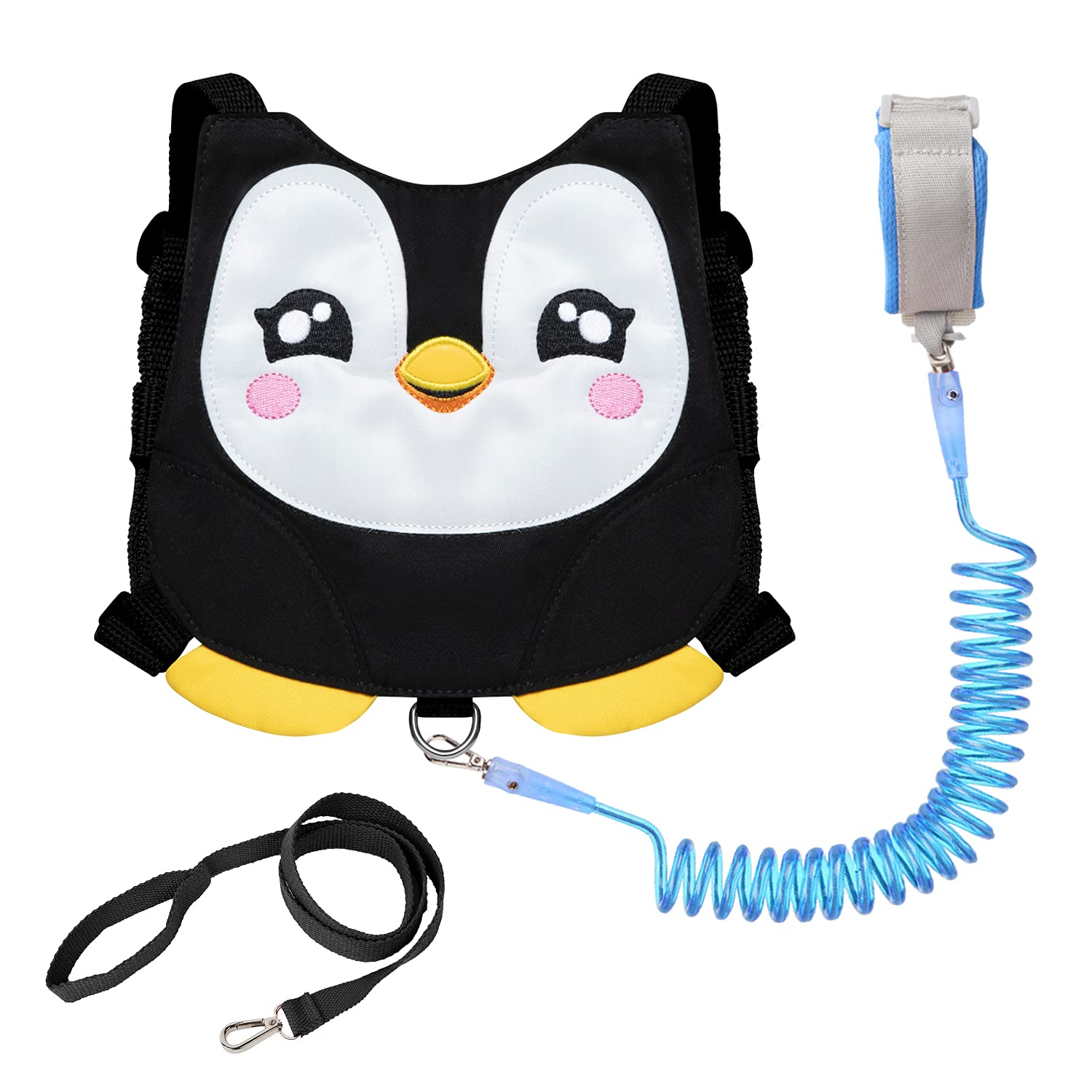 Penguin Toddler Harness with Leash Child Kid Anti-Lost Wrist-Link Leash Wristband (Black)