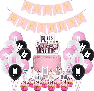 Jimiston BTS Birthday Party Supplies- 30 globos BTS / 22 cupcake Topper / 1 Happy Birthday Cake Topper / 1 Banner para el ...