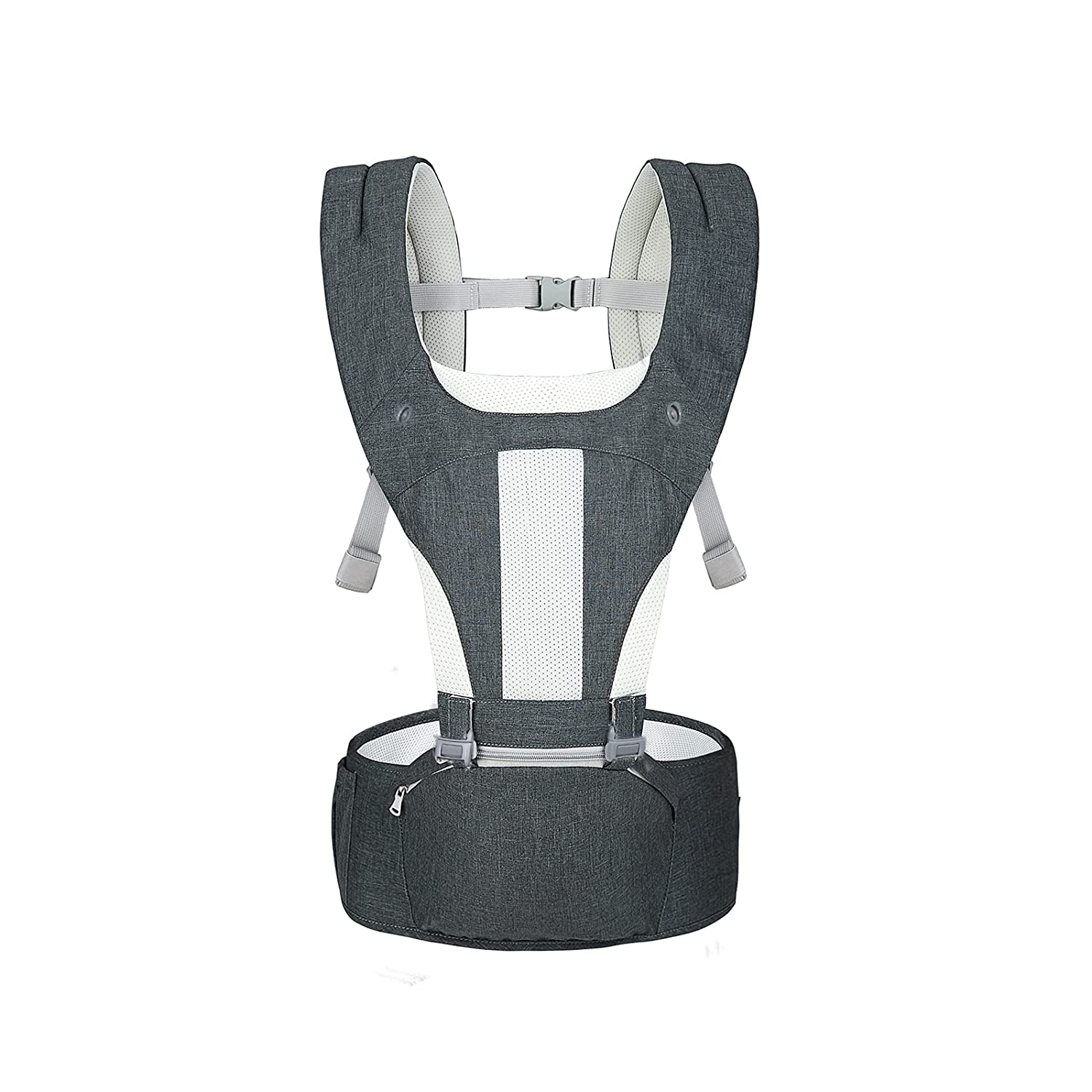 Baby Carrier Hip Seat, 6-in-1 All Carry Position Baby Carrier with Hip Seat for Newborns to Toddlers 3-36M, Soft Breathable Ergonomic Air Mesh and Adjustable Buckles Baby Hip Seat Carrier(Dark Gray)