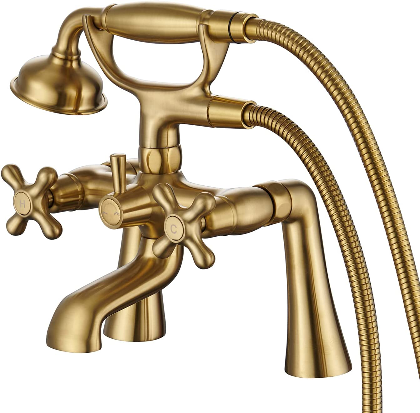 Hanallx Clawfoot Tub lowest price Faucet Deck Filler Brushed Gold V El Paso Mall Mount