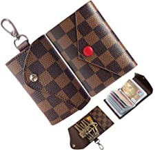 Credit Card Holder Women Trifold 6 Key case for Men Leather Small Mini Plaid Car Holder Bag Purse Pouch Keychain