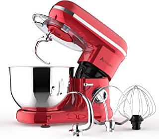 Ausbuy Stand Mixer, 900W 4.5L 6-Speed Tilt-Head Food Mixer, Kitchen Electric Mixer with Dough Hook, Wire Whip & Beater (Re...
