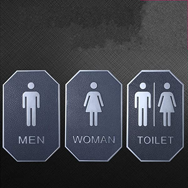 WellieSTR 3PCS Set Bathroom Decor Toilet Door Sign Restroom Sign Washroom Toilet Bathroom Sign Loo Sign Door Accessories Men S Women S Bathroom Sign With Adhesive 16x10cm