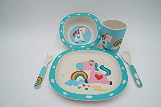 5-Piece Baby Toddler Kid Feeding Set in Eco-Friendly Bamboo Fiber   Jolly Rainbow & Unicorn Print on Plate, Cereal Bowl, Cup, and Eating Utensils; Unisex Teal and Aqua Color Theme