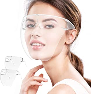 Face Shield, 2 Pack Clear Safety Face Shields with Glasses Frame Full Face Protective Reusable Goggle Shield Anti-Fog Ant...
