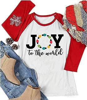 YUYUEYUE Joy to The World Lights T Shirt Women Lights Christmas Holiday Celebration Raglan 3/4 Sleeve Baseball Tops Tee