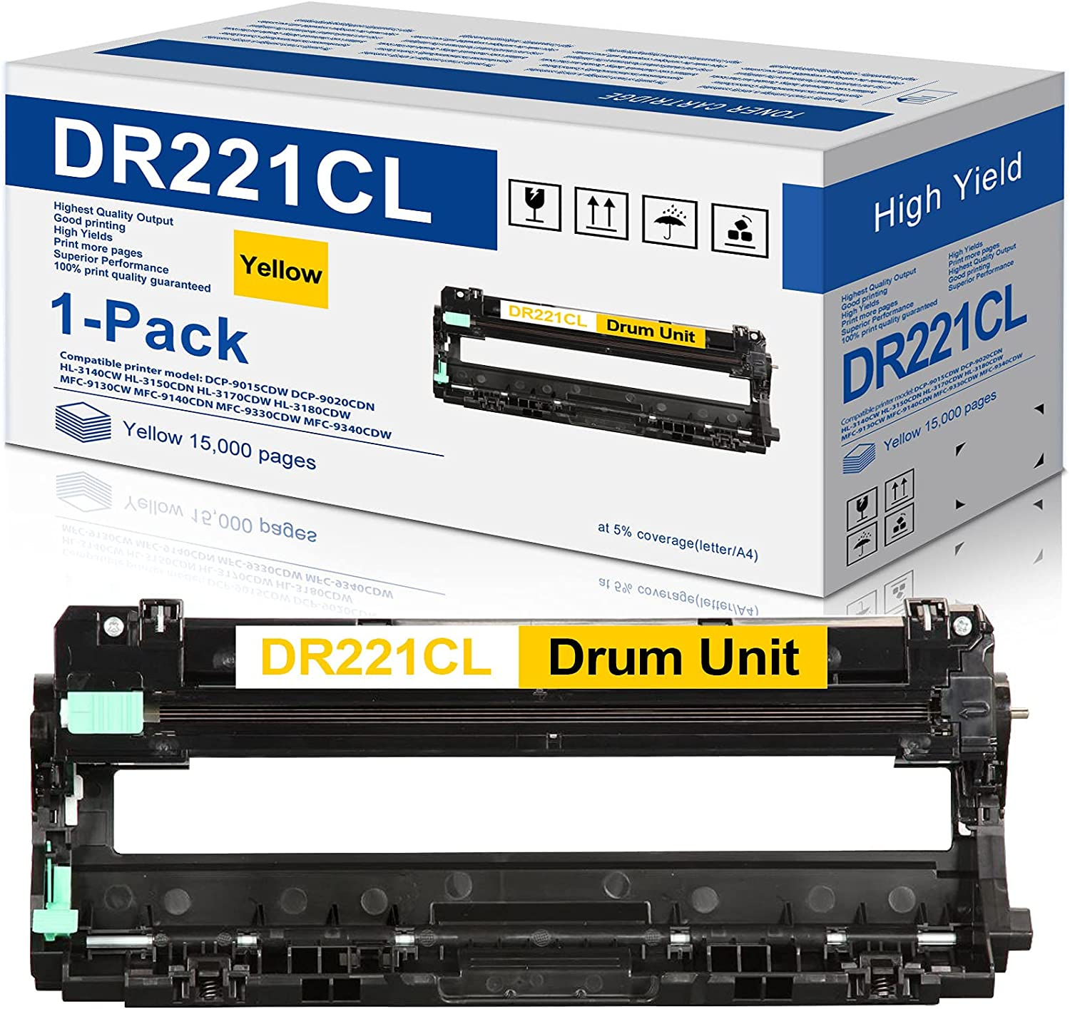 1-Pack Yellow DR221CL DR221 Compatible Drum Unit Replacement for Brother HL-3140CW HL-3150CDN HL-3170CDW HL-3180CDW MFC-9140CDN MFC-9330CDW MFC-9340CDW DCP-9015CDW DCP-9020CDN Printer
