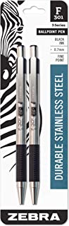 Zebra F-301 Ballpoint Stainless Steel Retractable Pen, Fine Point, 0.7mm, Black Ink, 2-Count