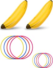 Norme 10 Pieces Bachelorette Party Game Inflatable Banana Ring Toss Game Kit, Include 2 Pieces Banana with 8 Pieces Plastic Toss Rings for Tossing Games Party Decorations