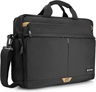 tomtoc Shoulder Bag, Messenger Bag for 15.6 Inch Laptop MacBook with Anti-Shock Laptop Compartment Multifunctional Briefcase Fits 15.6 Inch HP Dell Acer Lenovo Asus Samsung Notebook Tablet, Black