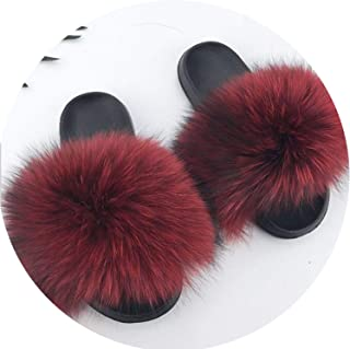 28 Colors Real Fur Slippers Women Fox Fluffy Sliders Comfort with Feathers Furry Summer Flats Sweet Ladies Shoes Plus Size 36-45,11,61