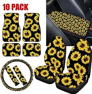 Kinbelle 10PCS Sunflower Car Accessories Set, Car Seat Covers,Steering Wheel Cover,Front&Rear Floor Mats,Seat Belt Pads,Armrest Lid Pad,Sunflower Bee Design Universal Fit