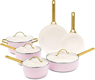 GreenPan Pavoda Ceramic Nonstick Cookware Pots and Pans Set, 10 Piece, Blush Pink (CC002445-001)