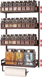 X-cosrack Étagère à épices murale à 4 étages avec crochet pour serviette et hauteur réglable pour condiments et pots de co...