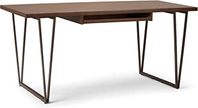 Amazon Com Simplihome Ryder Solid Wood And Metal Contemporary Modern 66 Inch Wide Home Office Desk Writing Table Workstation Study Table Furniture In Natural Aged Brown Furniture Decor