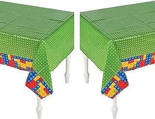 Set of 2- Plastic Color Brick Party Tablecloth - 54
